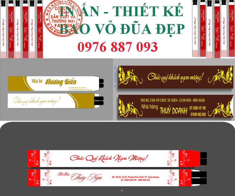 Dịch vụ in ấn thiết kế bao vỏ đũa cung cấp cho nhà hàng khách sạn